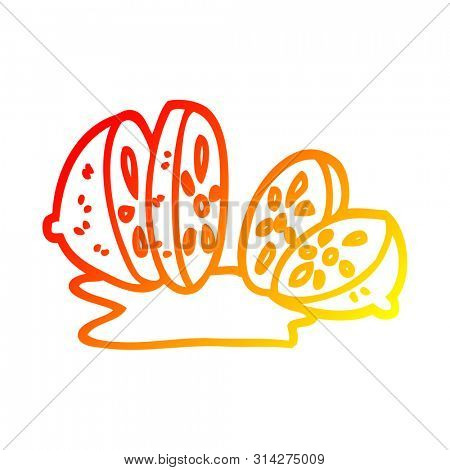 warm gradient line drawing of a cartoon sliced lemon