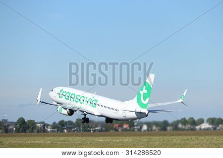 Amsterdam The Netherlands - May 24th, 2019: Ph-hxg Transavia Boeing 737-800 Takeoff From Polderbaan
