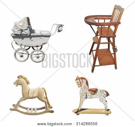A Set Of Old Childrens Vintage Items: A Stroller, A Highchair, A Wooden Horse Isolated On White Back
