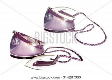 Modern Steam Iron Isolated On White Background. Electric Iron And Water Storage Tank For Ironing.