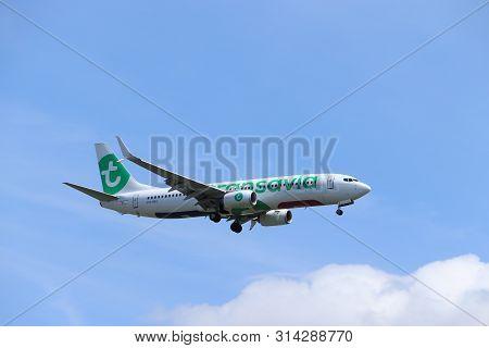 Amsterdam, The Netherlands - July 21st 2019: Ph-hxg Transavia Boeing 737-800 On Final Approach To Am