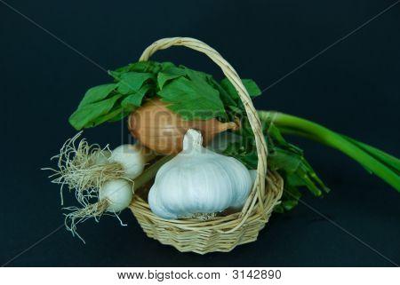 Basket, Onions, Garlic, Loveage.
