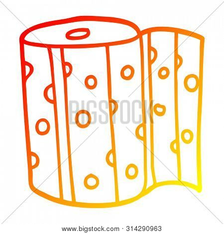warm gradient line drawing of a cartoon dotty kitchen roll