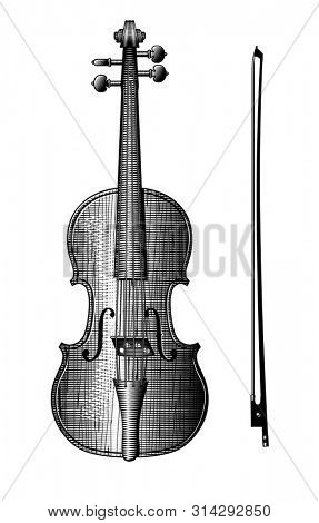 Violin and bow. Vintage engraving stylized drawing