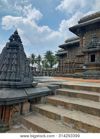 BELUR, KARNATAKA, INDIA - OCTOBER 31 : The Chennakeshava temple which is a Hoysala architecture dated 12th century with impressive stone carvings captured on October 31, 2018 in Belur, Karnataka India