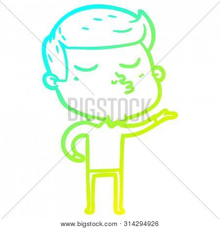 cold gradient line drawing of a cartoon model guy pouting poster
