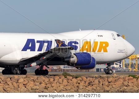 Sydney, Australia - October 10, 2013: Atlas Air Boeing 747 Cargo Aircraft At Sydney Airport.