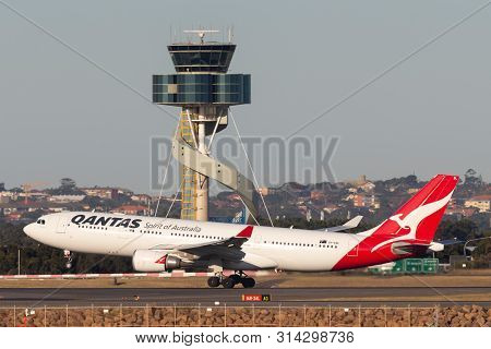 Sydney, Australia - October 9, 2013: Qantas Airbus A330 Large Passenger Airliner Taking Off From Syd