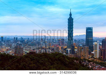 May 4, 2019 Taipei ,taiwan: Skyline Of Taipei Cityscape Taipei 101 Building Of Taipei Financial City