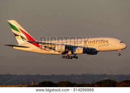 Sydney, Australia - October 9, 2013: Emirates Airbus A380 Four Engined Large Passenger Aircraft Land