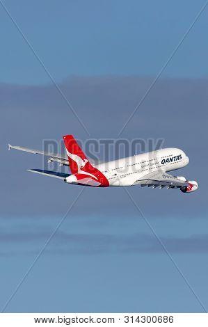 Sydney, Australia - October 8, 2013: Qantas Airbus A380 Large Four Engined Passenger Aircraft Taking