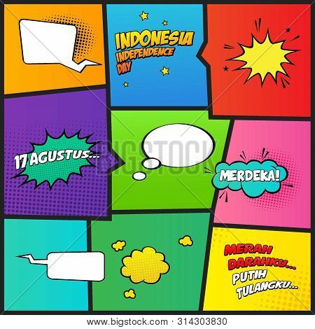 Comic Style Indonesia Independence Day Vector, Sound Effect, Bubble Text, Merdeka Mean Victorious, M