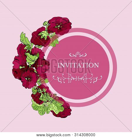 Template For Invitation Or Greeting Card With  Bouquet And Single Flowers Of  Maroon  Mallow And Gre