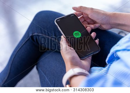 Chiang Mai ,thailand Jun 23 2019 : Apple Iphone Xs Smartphone With Spotify App On Screen.spotify Is