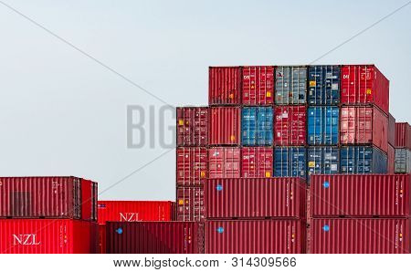 Chonburi, Thailand-april 23, 2019 : Container Logistic. Cargo And Shipping Business. Container Ship