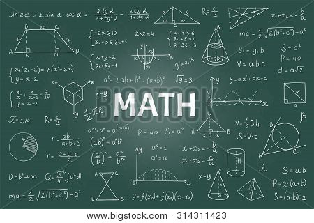 Doodle Math Blackboard. Mathematical Theory Formulas And Equations, Hand Drawn School Education Grap