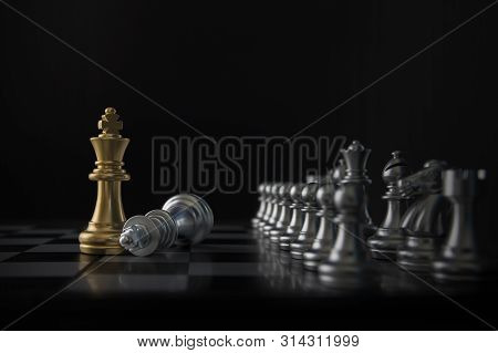 Chess (king Wins The Game) On Black Background. Success, Business Strategy, Victory, Win, Winner, Ta
