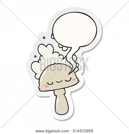 cartoon mushroom with spoor cloud with speech bubble sticker