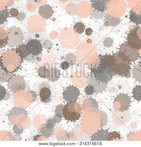 Watercolor Paint Transparent Stains Vector Seamless Wallpaper Pattern. Futuristic Ink Splatter, Spra