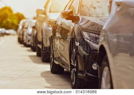 Car Parked On Street,car Parking Row On Road,transportation