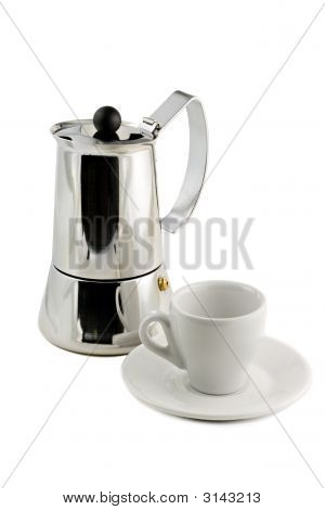 Mocca Maker And Coffee Cup Isolated On White Background