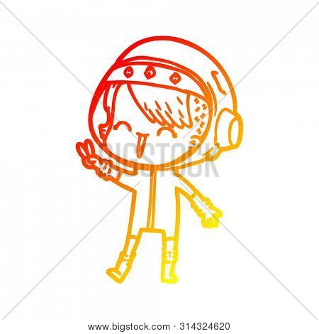 warm gradient line drawing of a happy cartoon space girl giving peace sign