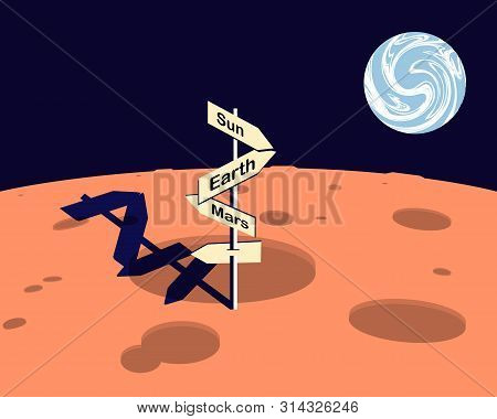 Moon Overlooking The Planet Earth. On The Surface Of The Moon Is A Pointer. Vector Illustration.