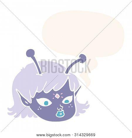 cartoon alien space girl face with speech bubble in retro style