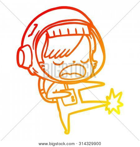 warm gradient line drawing of a cartoon astronaut woman kicking
