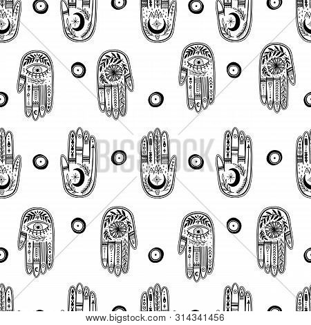 Palmistry Of The Hand Pattern, Black And White Drawing In A Circle On A White Background.
