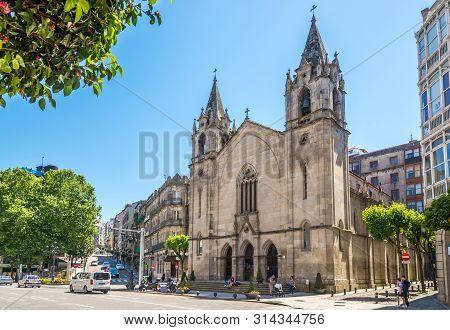 Vigo,spain - May 14,2019 - View At The Santiago Church In The Streets Of Vigo. Vigo Is The Capital O