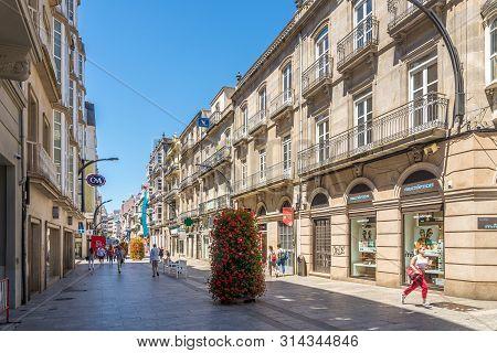 Vigo,spain - May 14,2019 - In The Streets Of Vigo In Spain. Vigo Is The Capital Of The County Of Vig