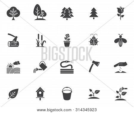Gardening Vector Icons Set, Modern Solid Symbol Collection, Filled Style Pictogram Pack. Signs, Logo
