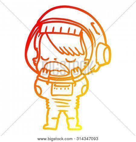 warm gradient line drawing of a cartoon talking astronaut yawning