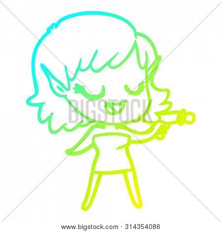 cold gradient line drawing of a happy cartoon space girl with ray gun