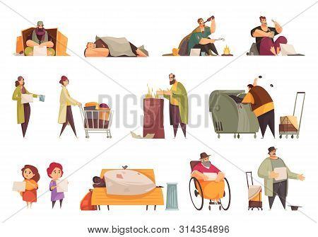 Poor Homeless People Begging Money Gathering Food From Garbage Sleeping Outdoor Flat Icons Set Isola