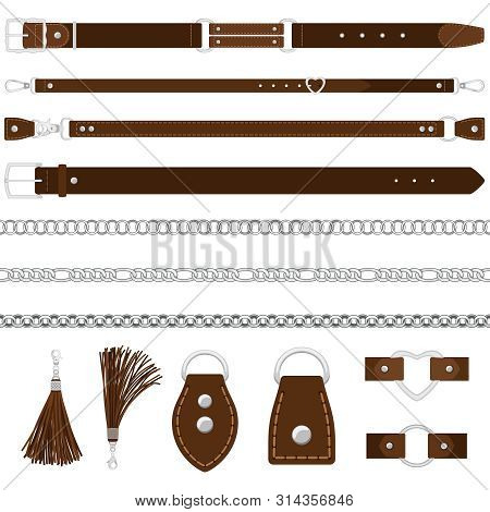 Vector Leather Belts, Silver Chains, Colars Isolated On White Background