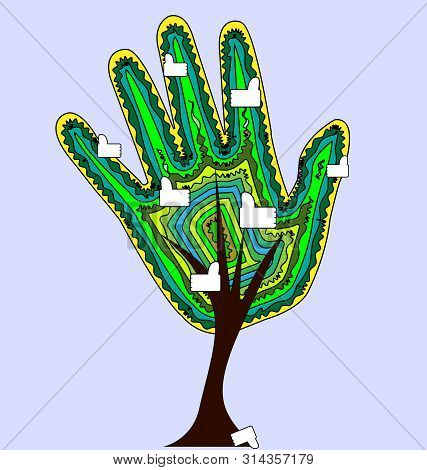Abstract Color Tree With Hand And Likes