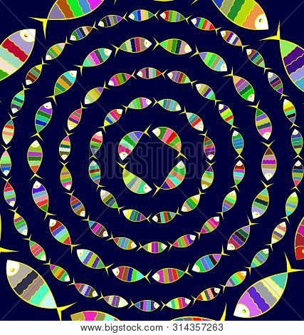 Many Colored Background Image Of Abstract Circles With Fish