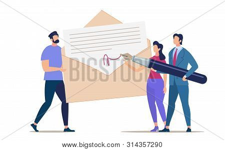 Advertising Flyer Signing And Mailing Document.  Conceptual Idea People Solve Questions With Documen