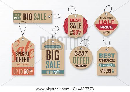 Set Of Cardboard Sale Tags With Text - Big Sale, Special Offer, Half Price, Best Choice. Vector Vint