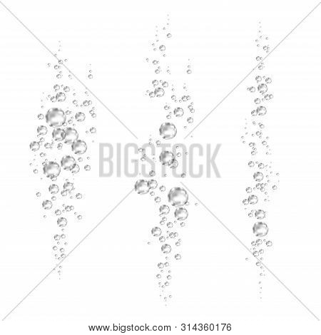 Effervescent Drink. Underwater  Black Fizzing Air Bubbles On White  Background. Fizzy Sparkles In Wa