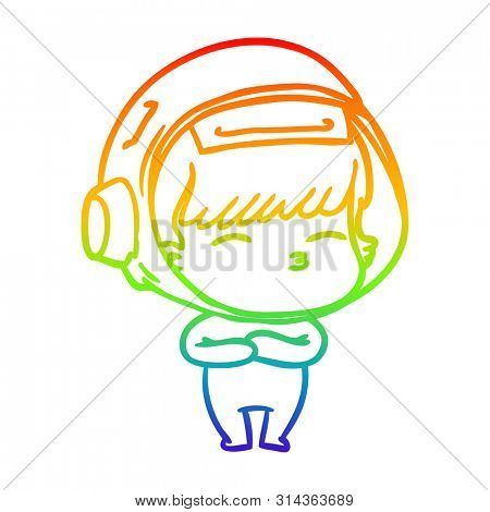 rainbow gradient line drawing of a cartoon curious astronaut