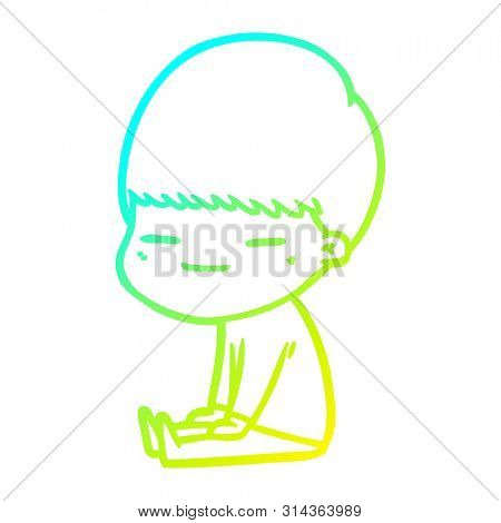 cold gradient line drawing of a cartoon smug boy sitting