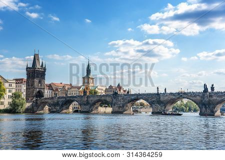 Praha, Czech Republic - 25 September, 2015: View Of The City Of Prague And The Charles Bridge And Vl