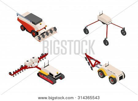 Agriculture Automation Smart Farming Trucks, Autonomous Driverless Tractor, Harvester And Robot. Col