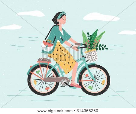 Happy girl dressed in trendy clothes riding city bicycle with flower bouquet in front basket. Adorable young hipster woman on bike. Cute pedaling female bicyclist. Flat cartoon vector illustration. poster