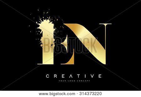 En E N Letter Logo With Gold Melted Metal Splash Vector Design Illustration.