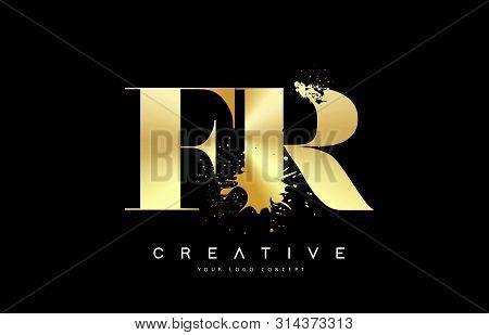 Fr F R Letter Logo With Gold Melted Metal Splash Vector Design Illustration.