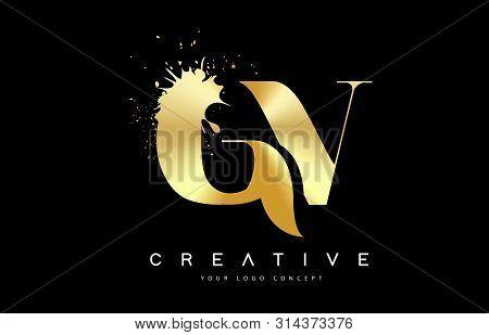 Gv G V Letter Logo With Gold Melted Metal Splash Vector Design Illustration.